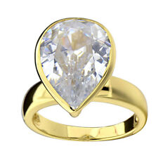 Gold Plated Sterling Silver CZ Solitaire Jewelry Women Wedding Engagement Ring