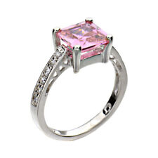 Sterling Silver Princess Cut Pink Cubic Zirconia Women's Wedding Engagement Ring