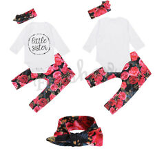 3Pcs Toddler Infant Baby Girl Outfit Top Romper Floral Pants Headband Outfit Set