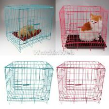 Single Door Folding Dog Cage Metal Steel Pet Puppy Cat Crate Kennel Carrier Home