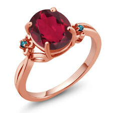 2.73 Ct Oval Red Mystic Quartz Blue Diamond 18K Rose Gold Plated Silver Ring