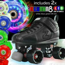 Zoom Speed Skate Quad Roller Skates with 2 LED Super Bright Colour wheels Combo!