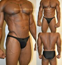 HOTACTIVEWEAR4ALL MENS BODYBUILDING POSING TRUNKS SUIT BLACK SOLID LYCRA SPANDEX