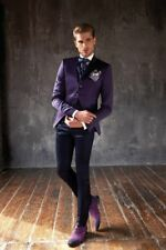 3 Piece Fashion Purple Suits Two Button Slim Fit Groom Tuxedos 40 42 44+ Custom