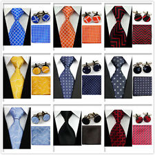 Men Blue Orange Red Black Check Necktie Ties Hanky Cufflinks Handkerchief Set