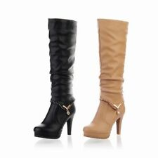 US Womens PU Leather Zipper Platform High Block Heel Knee High Thigh Boots Shoes