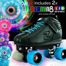 TEAL Zoom Speed Skate Quad Roller Skates with 2 BRIGHT LED Glitter wheels COMBO!