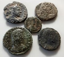 LOT OF 4 ANCIENT ROMAN One silver & 3 BRONZE COINS