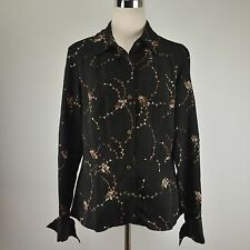 COLDWATER CREEK Black M-L Embroidered Blouse Jacket Textured Faux Suede Top