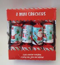 8 Christmas Mini Crackers Table Decoration Dinner Toy Set Kids Party Hat Joke St