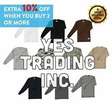 Mens Waffle Tee HeavyWeight THERMAL T SHIRTS Long Sleeve Cotton Winter Sweater
