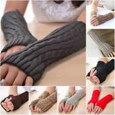 Womens Mens Knit Crochet Long Fingerless Winter Gloves Arm Warmer Mitten Fashion