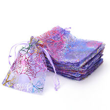 25pcs 12x9cm Coralline Organza Jewelry Pouch Wedding Party Favor Gift Bag;