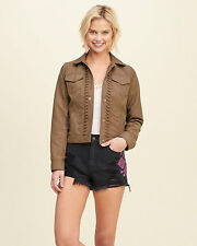 Abercrombie & Fitch Hollister Jacket Women's Faux Suede Jacket L Tan Brown NWT