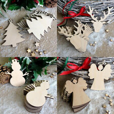 10x Plain Wooden Hanging Tags Cutout Shapes Christmas Tree Decoration Ornaments