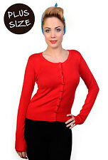 Banned Plain Cardigan Super Soft Knit Top Sweater Plus Size UK 16 18 20 22 RED