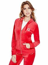 Guess Hoodie Women's Stretch Velour Track Jacket Full Zip Sweatshirt S Red NWT