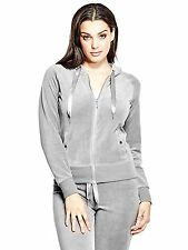 Guess Hoodie Women's Stretch Velour Full Zip Track Jacket Sweatshirt M Grey NWT