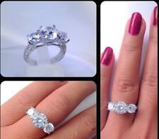 Luxe 3.8 Ct Round Cut Engagement & Wedding Rings Sterling Silver