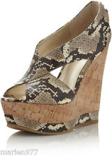 PELLE Moda IVY Cork Wedge Sandal Shoe Natural Snake Print  9.5, 10