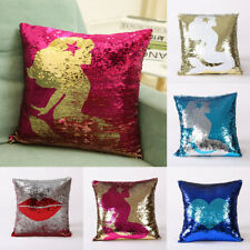 Shiny Embroidery Sequin Mermaid Pillow Cover Throw Cushion Case Sofa Home Decor
