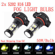 2x 50W 5202 H16 POWER CREE LED Fog Lights Bulbs 3000K 4300K 6000K 8000K 10000K
