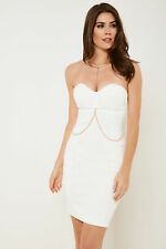 Rare Womens Strapless Midi Dress in Bodycon Fit with Zip Fasten to Back