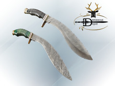 """15"""" Damascus hunting Kukri knife, Engraved brass scale, 2 colors, Cow sheath"""