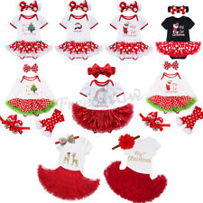 Newborn Baby Girl Christmas Tree/Santa Tutu Dress Romper Outfit Bodysuit Clothes