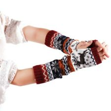 Lady Xmas Snowflake Fingerless Knit Mitten Women Long Gloves Winter Arm Warmer