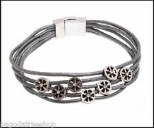 New Leather Bracelet with Alloy Metal Flower Wheels in Black or Silver Grey