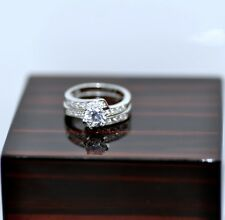 2 Pieces Ring Set 1.18Ct Solid Sterling Silver Engagement Ring Stamped 925