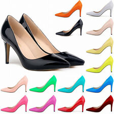 Women Patent Leather Pointed Toe Stiletto Shoe Work Party High Heel Ladies Pump