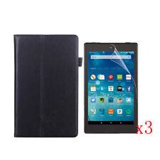 Stand PU Leather Case+3x LCD Film F 2016/2017 New Amazon Kindle Fire HD 8 8 inch