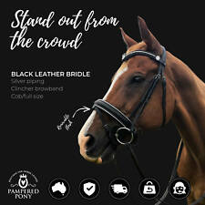 NEW Black Leather English HORSE BRIDLE Padded With Flash and Reins V Browband