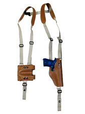 NEW Tan Leather Vertical Shoulder Holster Dbl Mag Pouch Glock HK FN Full Size
