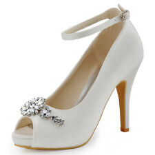 HP1546I High Heel Platform Pumps Peep Toe Buckle Rhinestones Satin Wedding Shoes