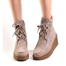 Jeffrey Campbell Voyager Taupe Suede Wedge Platform Lace Up Tie Ankle Boot