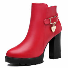 Girls Womens Round Toe Platform High Heel Ankle Boots Shoes Zip Buckle Formal