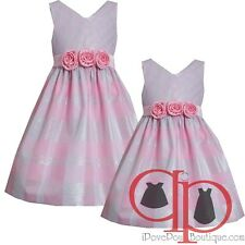 Girls 2T-16 Pink/Silver Metallic Stripe-n-Plaid Taffeta Dress, Bonnie Jean