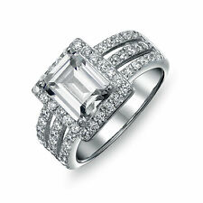 Bling Jewelry 925 Silver Emerald Cut Clear CZ Art Deco Style Ring