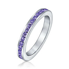 Bling Jewelry 925 Sterling Silver Simulated Amethyst CZ Eternity Band