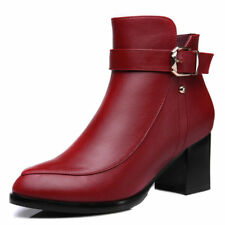 Girls Womens Pointed Toe Platform High Heel Ankle Boots Shoes Zip Buckle Formal