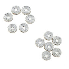 100Pcs Silver Rhinestone Metal Loose Spacer Beads for DIY Handcraft Jewelry 8mm