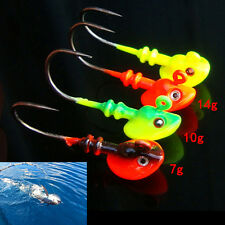 Lead Round Jig Head Fishing Lure Bait Hook Fish Tackle 5g/10g/14g Random Color.