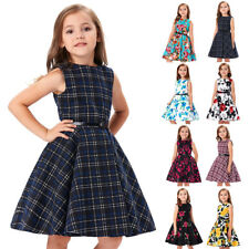 Girls Floral Dress 50s Vintage Retro Pinup Swing Evening Kids Party Ball Gown