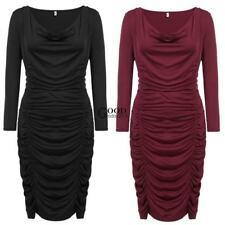 Women Plus Sizes Sexy Cowl Neck Long Sleeve Solid Draped Bodycon Pencil dress