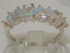 14k White Gold Natural Opal & Cubic Zirconia Eternity Ring - Sizes 4 to 12