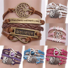Leather Infinity Charm Bracelet Cute Leather Multilayer Infinity Love Heart w88