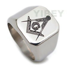 Men's Jewelry Stainless Steel Freemason Masonic Lodge Punk Mason Rectangle Ring